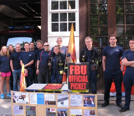 Firefighters on the picket at Euston in north London at the begining of their 24 hour strike at 9am yesterday morning