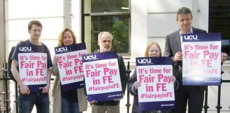 UCU lecturers 'Fair pay in FE' lobby during their pay talks last month