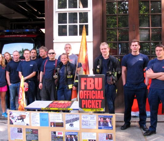 Firefighters on the picket line at Euston fire Station during the their last strike on June 7