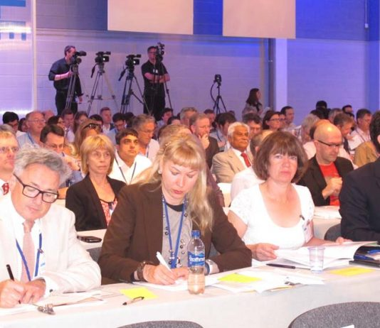 A section of the delegates at the BMA Conference which on its first day showed its determination to fight NHS cuts and closures and not to allow NHS charging