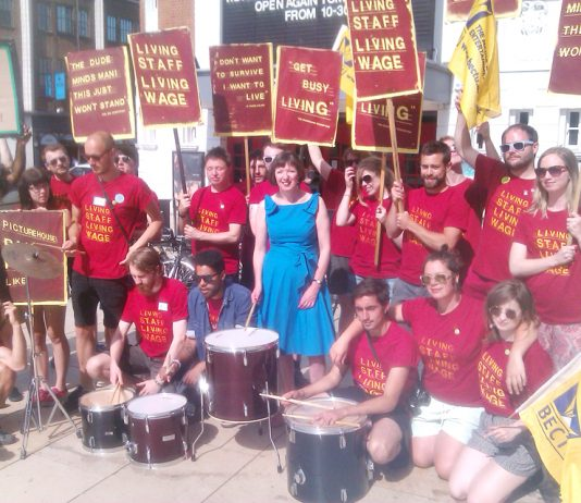 Ritzy cinema strikers were joined yesterday afternoon by TUC general Secretary FRANCES O'GRADY who also welcomed the Young Socialists March for Jobs starting on August 19th to the TUC Congress in Liverpool