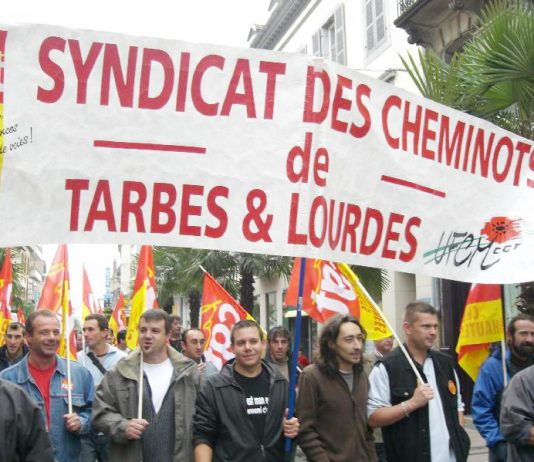 French rail workers – their strike action is continuing