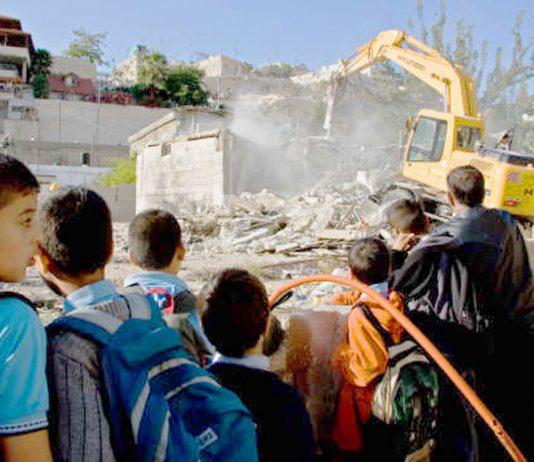 Bulldozer destroying Palestinian homes in East Jerusalem