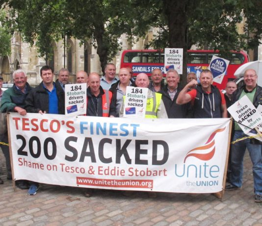 Sacked Tesco drivers protesting at their unfair dismissal at the Tesco AGM yesterday in London