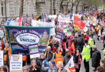 Unite and Unison members march to defend their pensions – on Thursday's strike they will be joined by other public sector unions