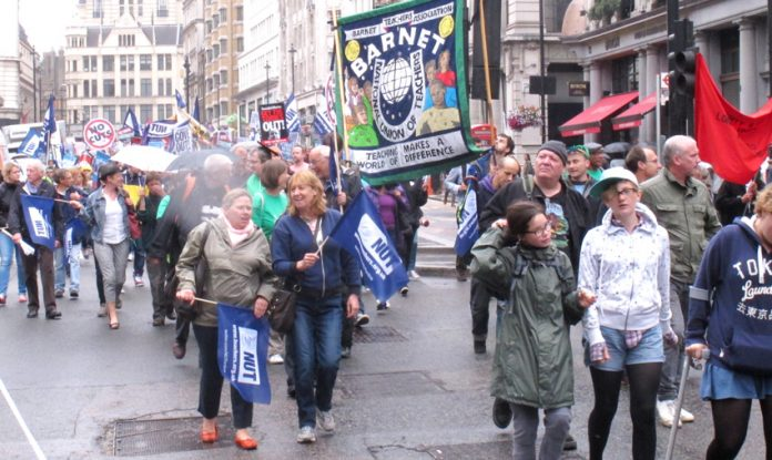 A section of the over 20,000-strong march of strikers in London from Portland Place to Trafalgar Square