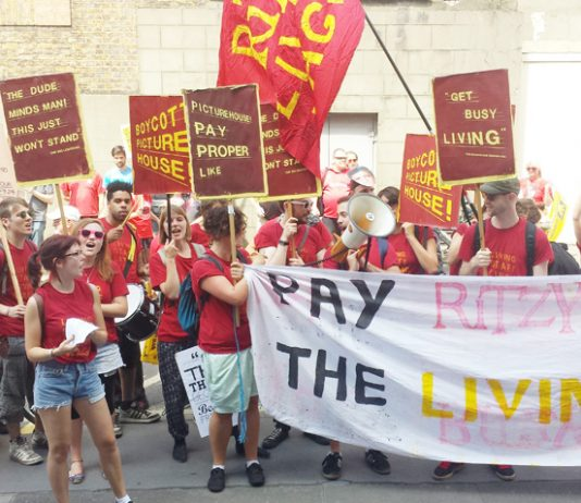 Ritzy and Curzon cinema workers marching to City Hall yesterday afternoon demanding the London Living Wage of £8.50 an hour
