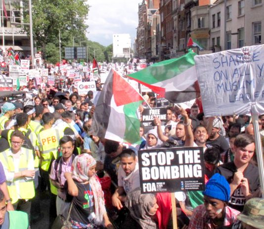 Protesters outside the Israeli embassy in London on Saturday