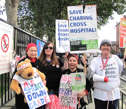 Campaigners opposing the closure and demolition of Charing Cross Hospital – one of the four west London hospitals due to lose its A&E and close