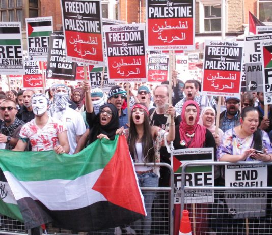 Youth on the protest led the chants of 'Free, Free Palestine'