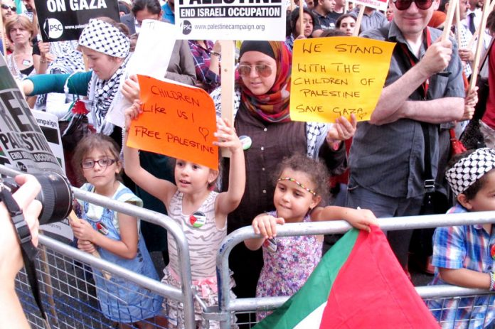 Part of the huge demonstration outside the Israeli embassy on Tuesday night