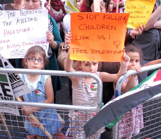 There have been massive demonstrations in Britain in support of the people of Gaza. The picture shows children taking part in  Tuesday's demonstration outside the Israeli embassy. They were very aware that children just like them are being murdered in Gaz