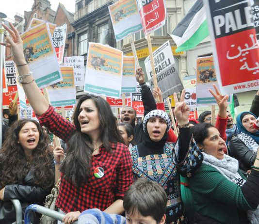 A section of the passionate crowd demanding an end to the Israeli terror state at a recent protest outside its embassy in west London