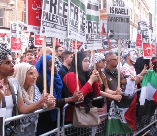 A section of the picket outside the Israeli embassy on Tuesday demanding an end to the siege of Gaza