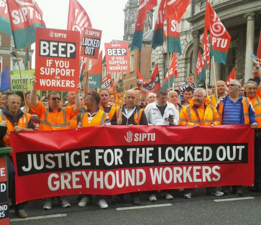 Demonstration in support of the locked-out Greyhound workers