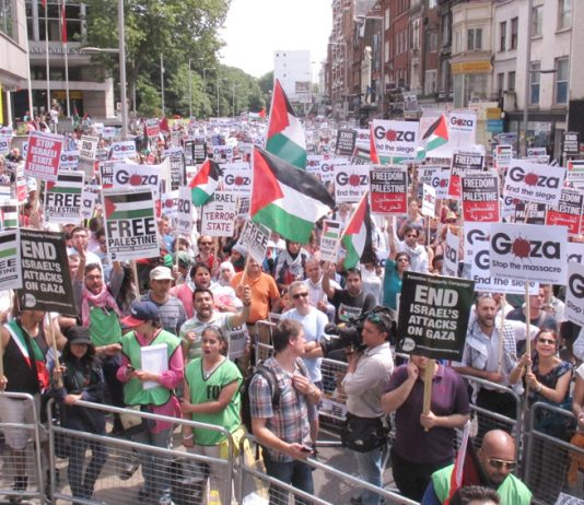 Over 120,000 marched in London on Saturday against the Israeli onslaught on Gaza