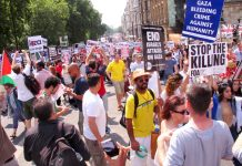 A section of the over 120,000-strong march in London last Saturday against the Israeli onslaught on Gaza