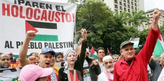 Demonstration in Venezuela in support of the Palestinian struggle for their state
