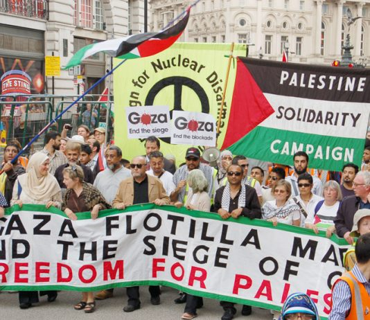 The front of the 25,000-strong march in London in June 2010 against the Israeli boarding of the Mavi Marmara, killing nine protesters