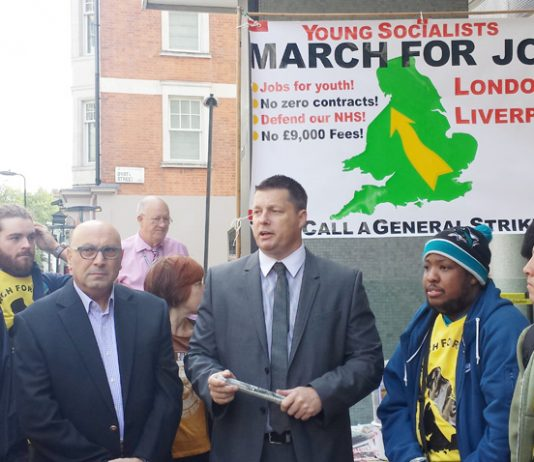 MANUEL HASSASSIAN, Palestinian Ambassador to London and JOE SIMPSON the POA Assistant General Secretary address the marchers and wish them the best before they set off on the road to Liverpool