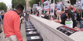 Coffins outside Downing Street last Saturday depicting the Palestinian children killed by Israeli forces