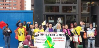 The marchers got the full support of Unite's Sainsbury's National Committee for the Young Socialists March for Jobs to the TUC Congress