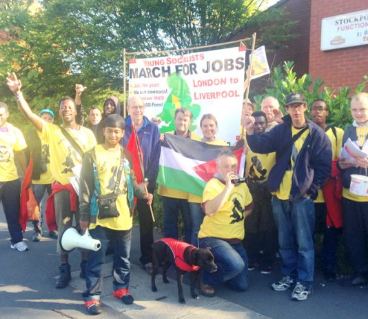 The YS March for Jobs at Stockport Labour Club just before setting off for Manchester