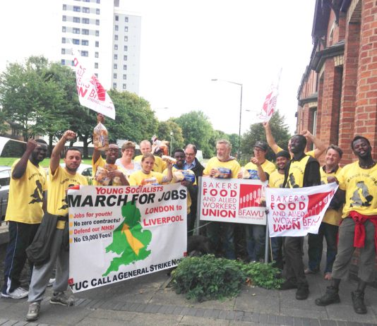 Marchers greeted by bakers and food workers union (BFAWU) who told them of the struggle the union had waged at Hovis where they kept out zero-hours contracts. The marchers were told that jobs for young people were one of the major concerns of the union