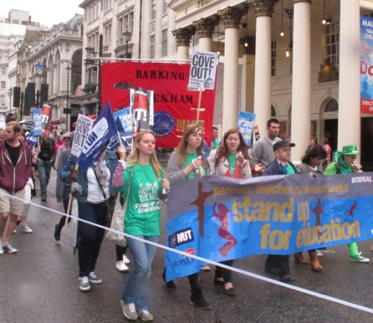 Teachers joined the public sector march through London in July, demanding that Education Secretary Gove be thrown out
