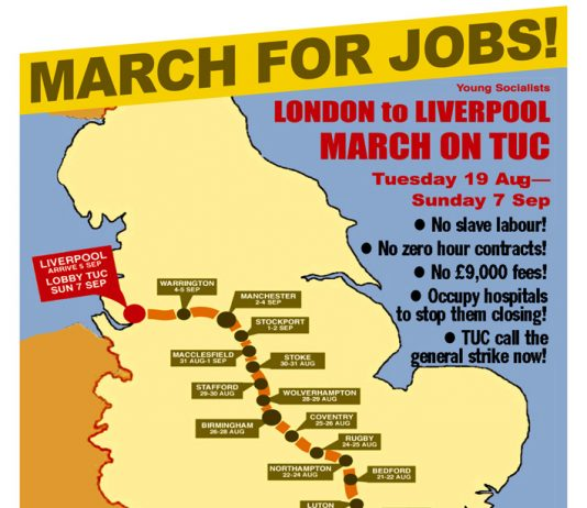 YS MARCH FOR JOBS! – London to the TUC in Liverpool