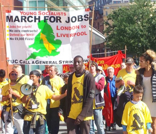 Marchers on their way to the TUC Congress demanding 'set the date for the General Strike!'