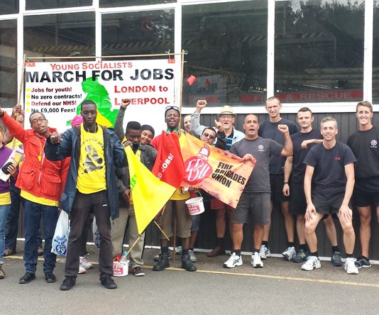 Firefighters at Studley road fire station in Luton, Bedfordshire, welcome the Young Socialists London-to-Liverpool March for Jobs. Jamie Newell, brigade secretary, said their station is also facing cuts