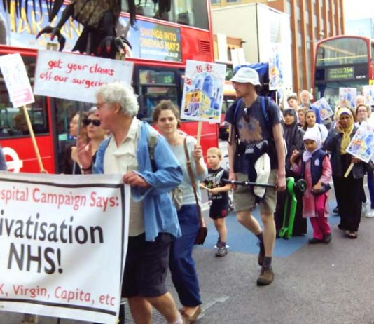 Demonstration in east London in July against the sell-off of GP surgeries