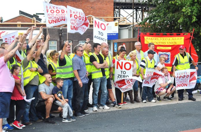 Hovis workers on the picket line during their successful strike to stop their jobs being outsourced