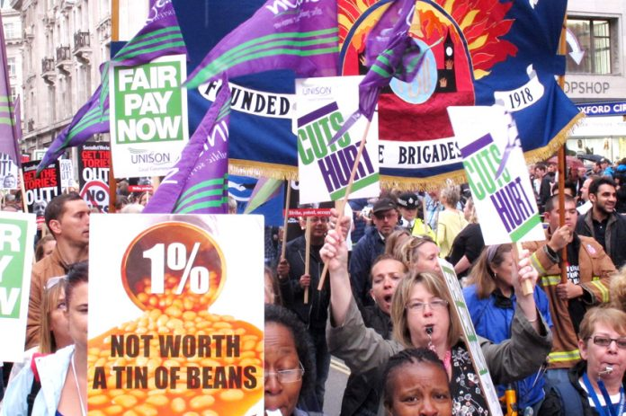 Section of the march in London during the last public sector strike on July 10 condemning the 1% pay rise