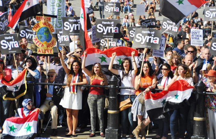Mass demonstration in August last year leading to the defeat of the government's vote to authorise air strikes on Syria