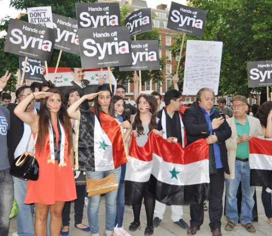 Demonstration outside the American Embassy against any imperialist intervention in Syria – Cameron said he will be prepared to attack Syria without the consent of parliament