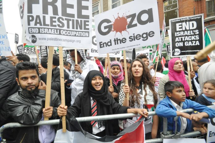 A section of one of the July demonstrations outside the Israeli embassy in west London with a clear message