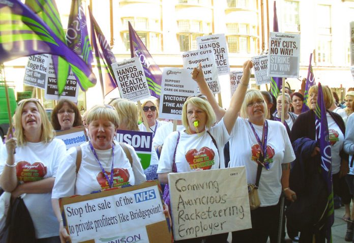 Doncaster Care UK strikers picketing the company's London headquarters in May