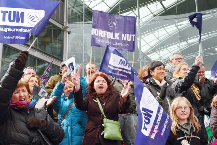 Norfolk teachers rally during the strike action in March