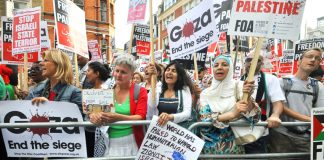 Picket of the Israeli embassy on August 1st during the Zionist onslaught on Gaza claiming the lives of thousands of Palestinian men, women and children