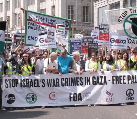 London demonstration against the Israeli onslaught on Gaza and in support of a Palestinian state