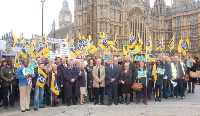 PCS strikers with their General Secretary MARK SERWOTKA outside Parliament yesterday lunchtime