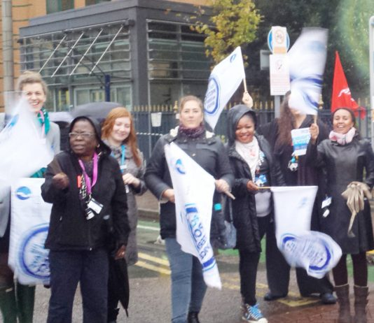 Lively picket of midwives at King's College Hospital on strike last Monday over the lack of a wage increase