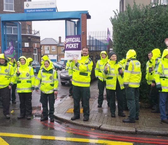 Ambulance workers on the picket line outside Deptford Ambulance Station during Monday's nationwide NHS strike to demand a decent pay rise