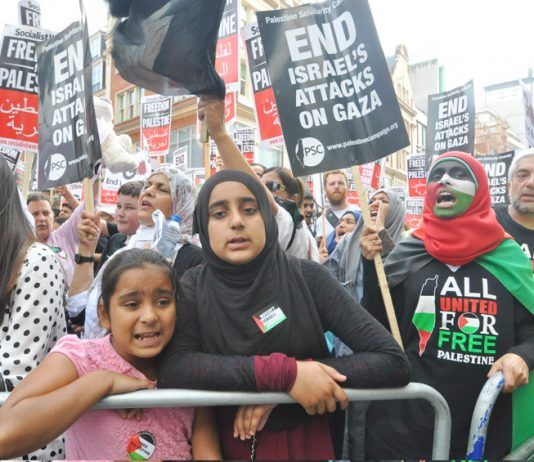 Demonstration in London against the Israeli attack on Gaza. Abd Rabbuh said that in Britain public opinion has moved in favour of Palestine