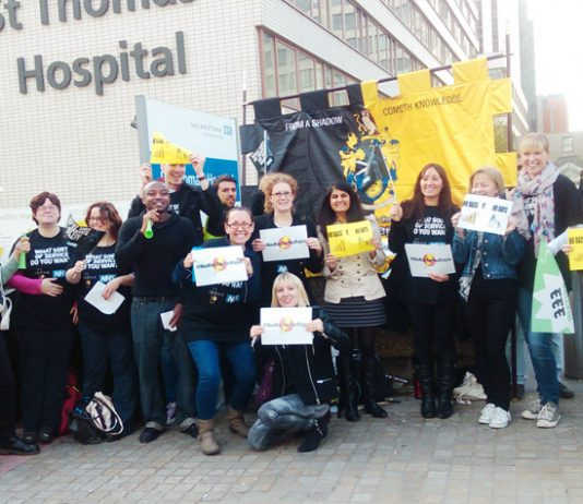 Radiographers on the picket line at St Thomas' Hospital yesterday morning