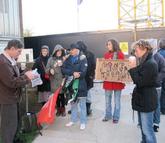 Tenants and residents at the all-day picket and protest against evictions on the West Hendon estate in Barnet