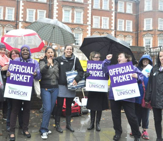 Midwives and nurses on the picket line at Hammersmith Hospital during the the national NHS strike over pay on October 13
