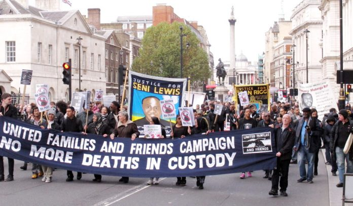 The lead banner of Saturday's UFFC procession as it made its way down Whitehall